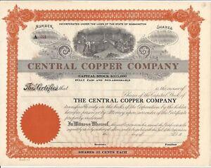 Central Cuivre Company non Émis Commune Stock Certificat 7wy31riC-09093846-846849699