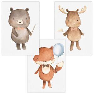 3er-Set-Wandbilder-Baby-Kinderzimmer-Deko-Poster-A4-W03-Ba-r-Fuchs-Hirsch