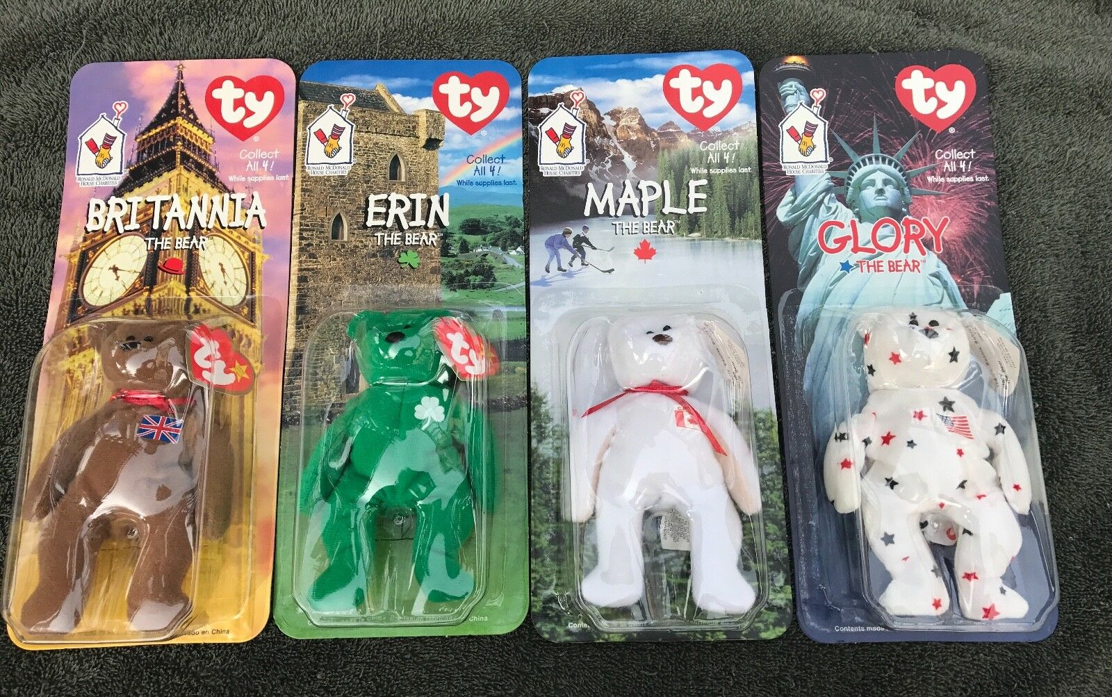 McDonald's Beanie Babies Set Lot Lot Lot Britannia, Erin, Glory, Maple d678a8