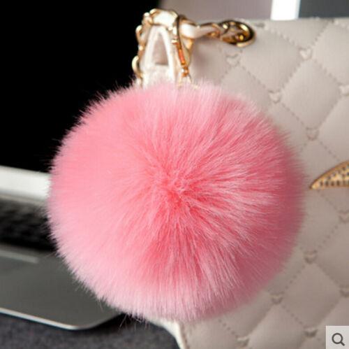 Rabbit Fur Ball//Rabbit Ear PomPom Cell Phone Car Pendant Handbag Key Chain Ring