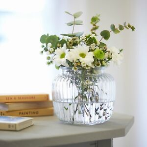 eBay & Details about Clear Ribbed Glass Bubble Flower Vase Decoration Home Wedding Vintage Style 14cm