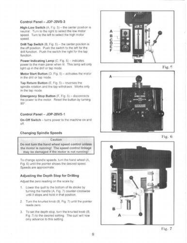 Jet JDP-20VS-1//3 Drill Press Operator /& Parts List  Manual   *232