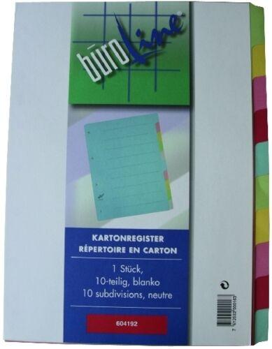 5x Register 10-teilig farbig blanco bunt Karton A4 BRG604192 neutral NEU /& OVP