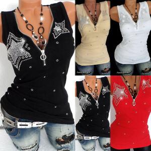Womens-Summer-Sleeveless-Vest-Tank-T-Shirt-Blouse-Ladies-Zipper-Rhinestones-Tops
