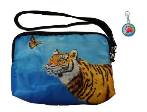 Tiger Wristlet with Signature Zipper Charm Wonder From my orginal Painting