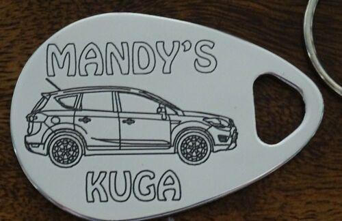 Personalised FORD KUGA 08-13 keyring ANY NAME engraved polished aluminum