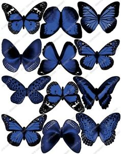Cakeshop 12 x PRE-CUT Blue Edible Butterfly Cake Toppers ...