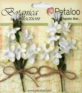 White Velvet Fabric Lilacs 2pullapartsprays 12miniflowers 15-20mm&buds Petaloo