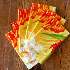 "8 Hawaiian Placemats Tropical Flowers on Yellow Cotton Lined 19 1/4"" x 23"""