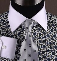 Black Floral Mens Casual Shirt Luxury Business Dress Fashion White Spread Collar