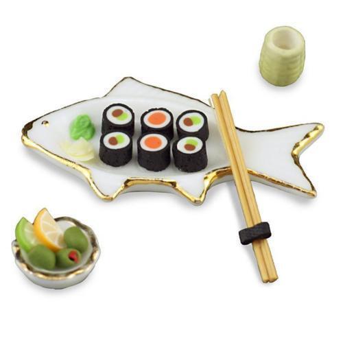 Reutter porcelana pescado sushiset//fish sushi set muñecas Tube 1:12 1606//5 Art.