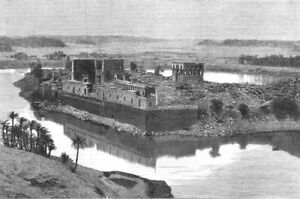 EGYPT. General view of Philae from the Island of Biggeh, antique print, 1880