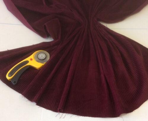 CLEARANCE 1 Metre BURGUNDY Cotton Jumbo  Corduroy  Fabric 112 cms 6 Wale