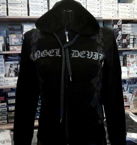 Felpa donna Angel Devil con zip logo in lurex con tasche e cappuccio art TD81