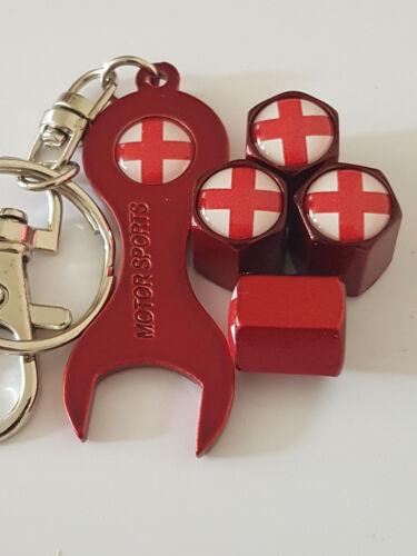 Inghilterra Bandiera Red Dust Valvola Tappi /& Rosso Spanner tutti i modelli confezione al dettaglio