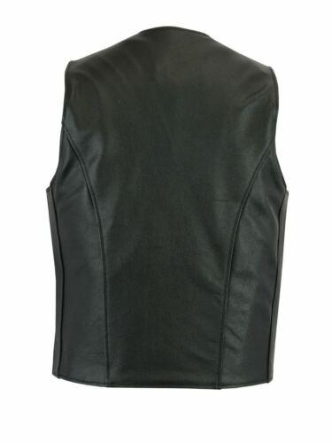 Uomini Vera Pelle Da Motociclista Stile regolare moto Gilet nero Vest Plain