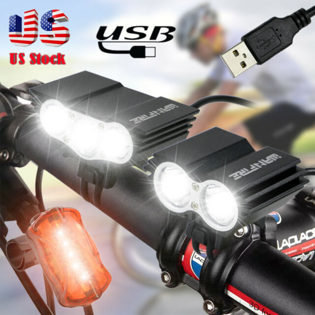 USB Rechargeable 400Lumens Bicycle Front Light Bike Waterproof Headlight LED US