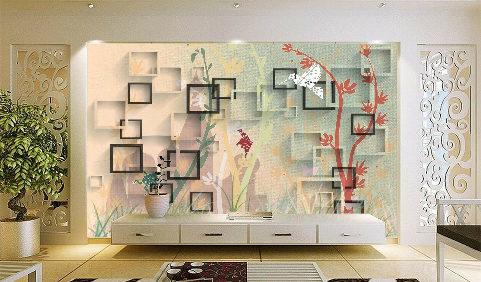 3D Tree Art rot 7202 Wallpaper Mural Wall Print Wall Wallpaper Murals US Lemon