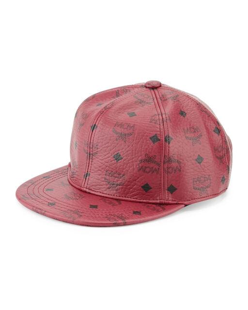 b68e5c960bb9b ... closeout 100 authentic new mcm red leather visetos baseball cap hat  ef9ab f2707