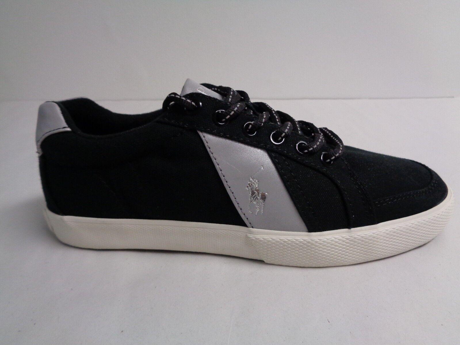 Polo Ralph Lauren Size 11.5 M HUGH Black Canvas Fashion Sneakers New Mens Shoes