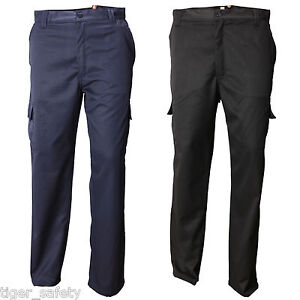 Ag Workwear Mens Cargo Combat Work Trousers Multi Pocket Black Or