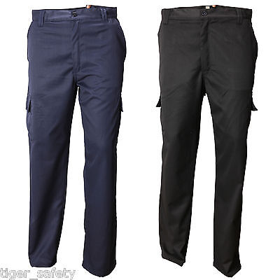 Clever Ag Workwear Mens Cargo Combat Work Trousers Multi Pocket Black Or Navy 30-44""