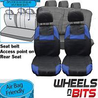 Honda Jazz Crv Crx Universal Black & Blue Pvc Leather Look Car Seat Covers Set