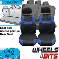 Vauxhall Omega Signum Universal Black & Blue Pvc Leather Look Car Seat Covers