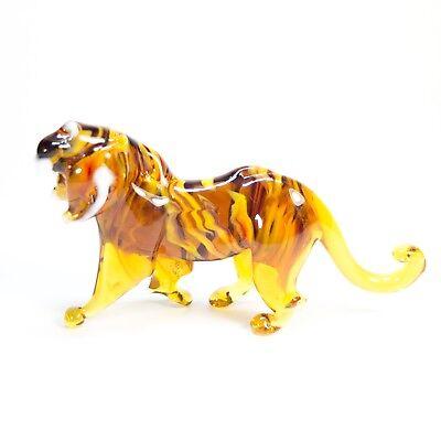 Tiny Original Blown Glass Figurine Murano TIGER Handmade Wild Cat handcraft.