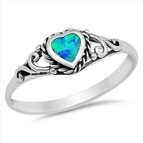 Heart Blue Lab Opal Ring Véritable Argent Sterling 925 face hauteur 6 mm taille 6