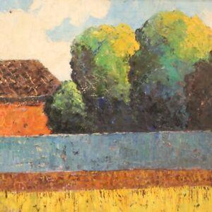 Quadro-paesaggio-firmato-dipinto-stile-antico-impressionista-con-cornice-900