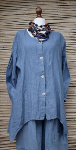 """OVERSIZED LINEN JACKET 2 POCKETS A-LINE **DUSTY BLUE**BUST UP TO 48/""""*LAGENLOOK*"""