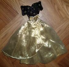 ❤️❤️Barbie Doll Clothes - Vintage Black And Gold Ball Dress❤️❤️