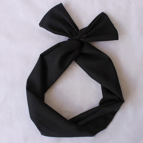 50/'s BUNNY EARS RIBBON TIE BOW BENDY .WIRE WIRED HAIR SCARF HEAD WRAP B bbgg