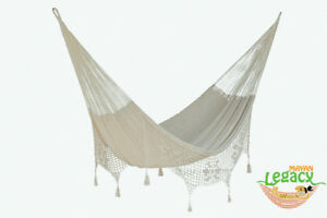Deluxe-Queen-Size-Outdoor-Cotton-Mexican-Hammock-in-Cream-colour-by-Mayan-Legacy
