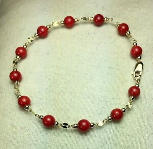 43177dae5e5 14k solid yellow gold 5mm round ball natural Red Coral bracelet 8 1 ...