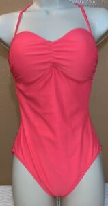 Old-Navy-One-Piece-Bathing-Suit-Halter-Open-Back-Size-XS-Coral