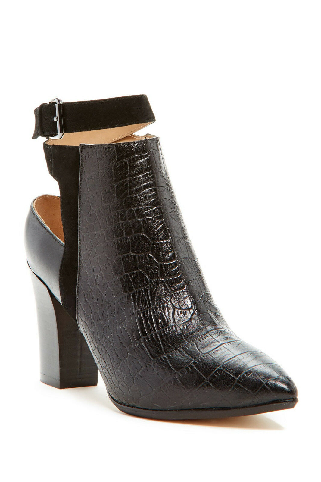 Nicole Miller Ginger Genuine Leather Croco Embossed Bootie, Size 9.5 M,  190 NWB