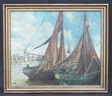 Fischerboote im Hafen, Adolf Bode 1904,Impressionist