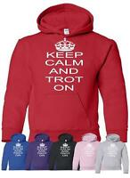 Keep Calm and Trot On Horse Riding Pony Kids Girls Boys Hoodie Age 5-13