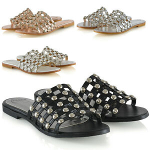 Womens-Studded-Flat-Slider-Cage-Ladies-Summer-Holiday-Slip-On-Sandals-Shoes-3-8