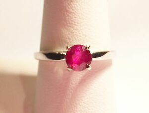 $2000 Estate 1.50ct Natural Ruby Engagement Ring 14k White Gold S-9