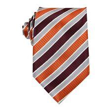 Burgundy Grey Striped 3.4'' Silk Jacquard Classic Woven Man's Tie Necktie FS82