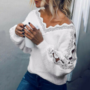Women-Fashion-Lace-Off-The-Shoulder-lace-Long-Sleeve-Blouse-Loose-Tank-Tops