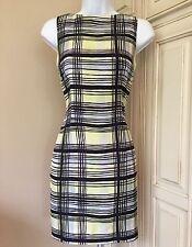 Ann Taylor Petite's Vintage Blue Silk Plaid Sheath Button Back Dress & Scarf ~ 2