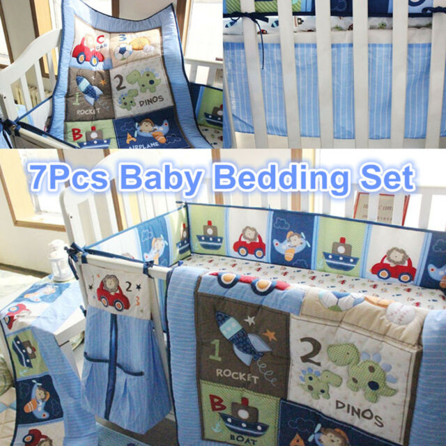 7pcs Blue Baby Boy Bedding Crib Cot Set Nursery Quilt Per Sheet Blanket Cover