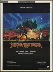DRAGONSLAYER__Orig. 1982 Trade Oscar AD promo / poster__Best Music_Score_Effects