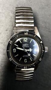 MATY-BESANCON-Diver-34-Uhr-475-Handaufzug-Automatik-Watch-Submarine-Taucheruhr
