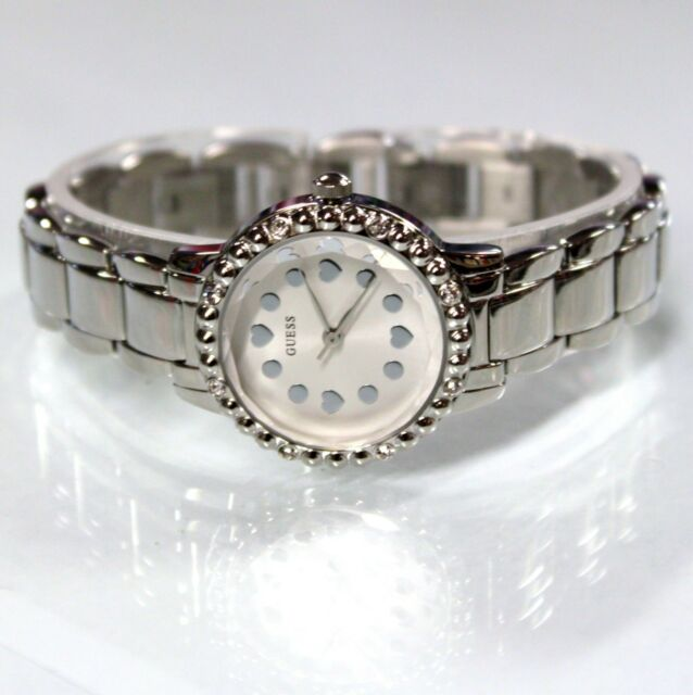 NEW GUESS W097L1 Silver Tone Chain Stainless Steel Women Small Dial Watch 99ffbdb3310b