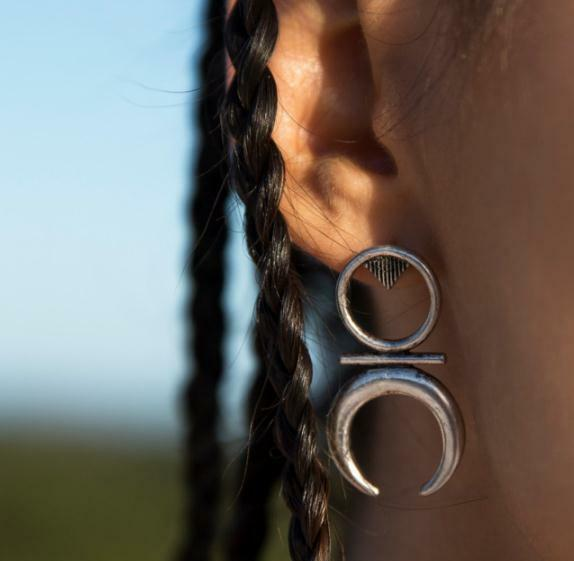 Big Moon stud earrings Geometric retro boho tribal punk silver summer gift UK